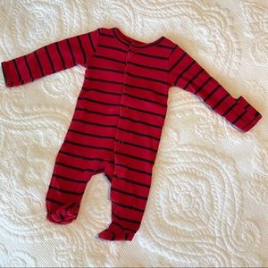 Red and Black Striped Newborn Footed Onesie